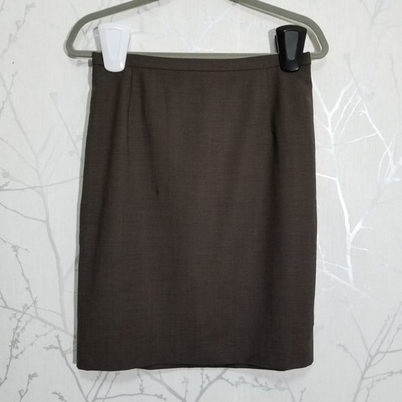 Escada Brown Wool Blend Lined Pencil Skirt